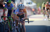 After a very long time of not racing, Marianne Vos (NLD/Rabo-Liv) rides her first World Tour race and finishes a fine 9th up the Mur de Huy (1300m/9.8%)<br /> <br /> Women's Flèche Wallonne 2016
