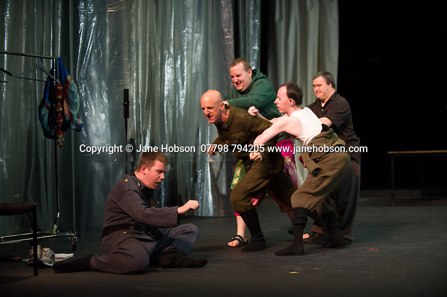 Edinburgh, UK. 09.08.2014.  GANESH VERSUS THE THIRD REICH, presented by Australian company, Back to Back Theatre, opens at the Royal Lyceum Theatre, as part of the Edinburgh International Festival. Picture shows:  Scott Price, David Woods, Brian Tilley, Simon Laherty and Mark Deans. Photograph © Jane Hobson.