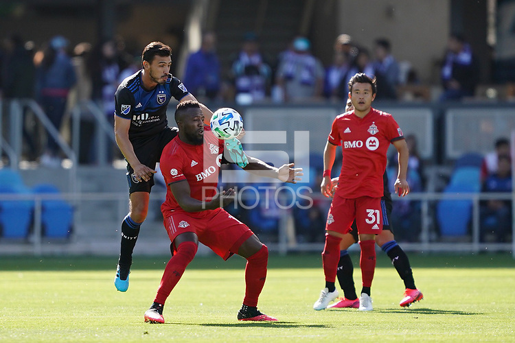 SAN JOSE, CA - FEBRUARY 29: Oswaldo Alanis #4 of the San Jose Earthquakes battles for the ball with Jozy Altidore #17 of Toronto FC during a game between Toronto FC and San Jose Earthquakes at Earthquakes Stadium on February 29, 2020 in San Jose, California.