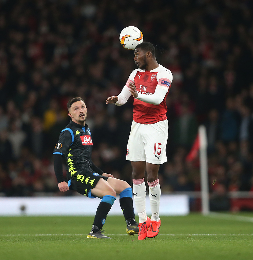 Arsenal's Ainsley Maitland-Niles and Napoli's Mario Rui<br /> <br /> Photographer Rob Newell/CameraSport<br /> <br /> UEFA Europa League First Leg - Arsenal v Napoli - Thursday 11th April 2019 - The Emirates - London<br />  <br /> World Copyright © 2018 CameraSport. All rights reserved. 43 Linden Ave. Countesthorpe. Leicester. England. LE8 5PG - Tel: +44 (0) 116 277 4147 - admin@camerasport.com - www.camerasport.com