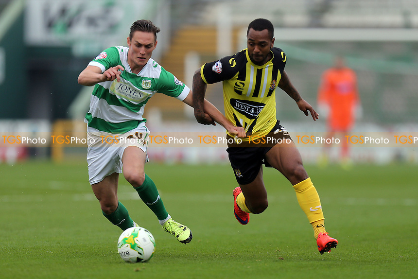 Ashley Hemmings of Dagenham and Connor Roberts of Yeovil Town during Yeovil Town vs Dagenham and Redbridge, Sky Bet League 2 Football at Huish Park, Yeovil, England on 10/10/2015
