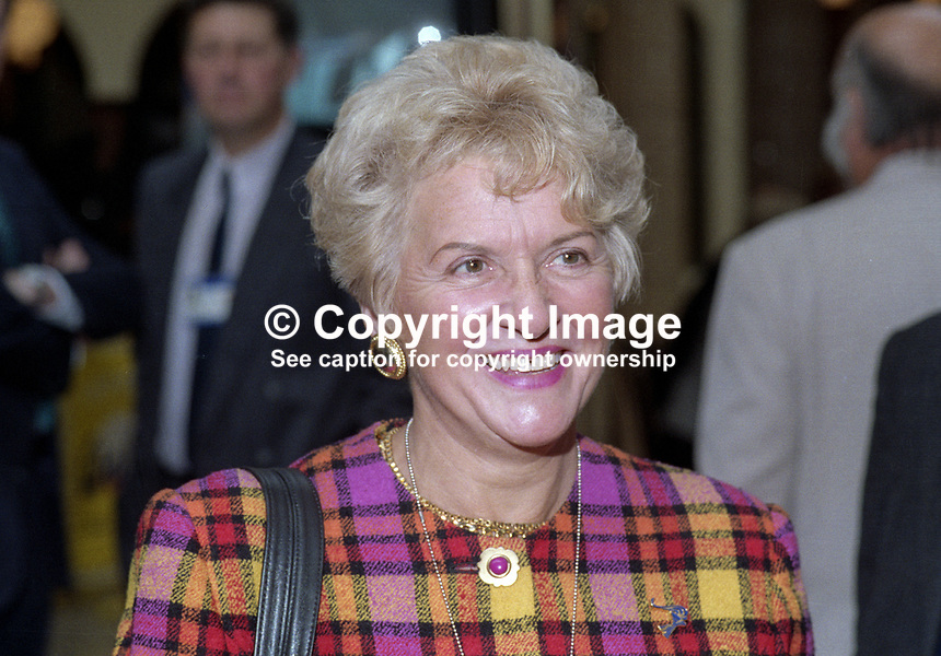 Teresa Gorman, MP, Conservative Party, UK, October, 1994, 199409035<br /><br />Copyright Image from Victor Patterson, 54 Dorchester Park, <br />Belfast, UK, BT9 6RJ<br /><br />t1: +44 28 9066 1296 (from Rep of Ireland 048 9066 1296)<br />t2: +44 28 9002 2446 (from Rep of Ireland 048 9002 2446)<br />m: +44 7802 353836<br /><br />victorpatterson@me.com<br />www.victorpatterson.com<br /><br />Please see my Terms and Conditions of Use at VICTORPATTERSON.COM. It is IMPORTANT that you familiarise yourself with them.<br /><br />Images used on the Internet must be visibly watermarked i.e. &copy;VICTORPATTERSON.COM within the body of the image and copyright metadata must not be deleted. Images used on the Internet have a size restriction of 4kbs and are chargeable at the then current NUJ rates.<br /><br />This image is only available for the use of the download recipient i.e. television station, newspaper, magazine, book publisher, etc, and must not be passed on to any third party. It is also downloaded on condition that each and every usage is notified within 7 days to victorpatterson@me.com<br /><br />The right of Victor Patterson to be identified as the author is asserted in accordance with The Copyright Designs And Patents Act (1988).