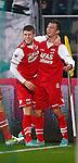 Nederland, Den Haag, 10 november 2012.Eredivisie.Seizoen 2012-2013.ADO Den Haag-AZ.Erik Falkenburg en Johann Berg Gudmundsson van AZ juichen nadat Falkenburg de 0-1 heeft gescoord.