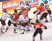 Peter Harrold, Steve Birnstill, Benn Ferreiro, Adam Geragosian, Steve Sanders, Louis Liotti, Joe Rooney - The Boston College Eagles defeated the Northeastern University Huskies 5-2 in the opening game of the 2006 Beanpot at TD Banknorth Garden in Boston, MA, on February 6, 2006.