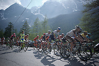 the first grupetto (up the 2001m Cervinia climb)  finishes 44 minutes behind stage winner Aru<br /> <br /> Giro d'Italia 2015<br /> stage 19: Gravellona Toce - Cervinia (236km)