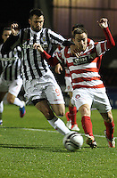 Steven Thompson tackles Jon Routledge in the St Mirren v Hamilton Academical Scottish Communities League Cup match played at St Mirren Park, Paisley on 25.9.12.