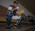 Reno Aces catcher 34-year-old Anthony Recker waits to talk with the local press on Media Day Tuesday April 3, 2018 in Reno, Nevada.