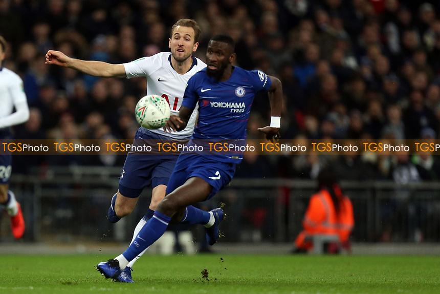 Antonio Rudiger of Chelsea and Harry Kane of Tottenham Hotspur during Tottenham Hotspur vs Chelsea, Caraboa Cup Football at Wembley Stadium on 8th January 2019