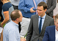 Senior Advisor Jared Kushner, right meets United States Senator Pat Toomey (Republican of Pennsylvania) on the South Lawn of the White House in Washington, DC prior to the arrival of US President Donald J. Trump and first lady Melania Trump for the annual Congressional Picnic on the South Lawn of the White House in Washington, DC on Thursday, June 22, 2017.<br /> Credit: Ron Sachs / CNP /MediaPunch