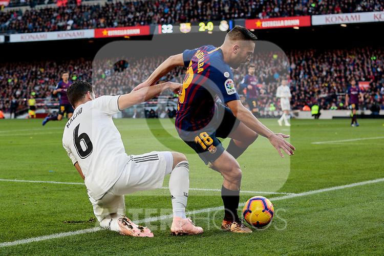 FC Barcelona's Jordi Alba and Real Madrid's Nacho Fernandez during La Liga match between FC Barcelona and Real Madrid at Camp Nou Stadium in Barcelona, Spain. October 28, 2018. (ALTERPHOTOS/A. Perez Meca)