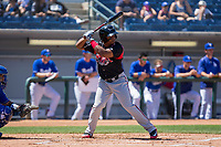 Lake Elsinore Storm Eguy Rosario (1) at bat against the Rancho Cucamonga Quakes at LoanMart Field on April 22, 2018 in Rancho Cucamonga, California. The Storm defeated the Quakes 8-6.  (Donn Parris/Four Seam Images)