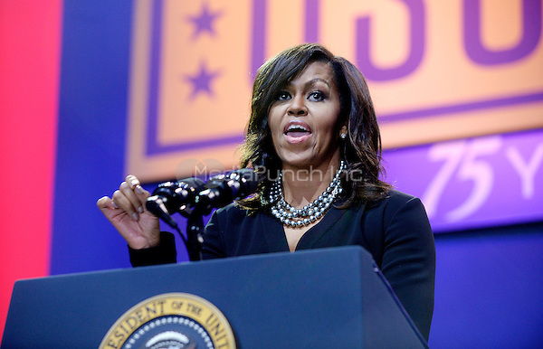 First Lady Michelle Obama speaks at the kick off of the 5th anniversary of Joining Forces and the 75th anniversary of the USO at Joint Base Andrews on May 5, 2016 in Maryland. <br /> Credit: Olivier Douliery / Pool via CNP/MediaPunch