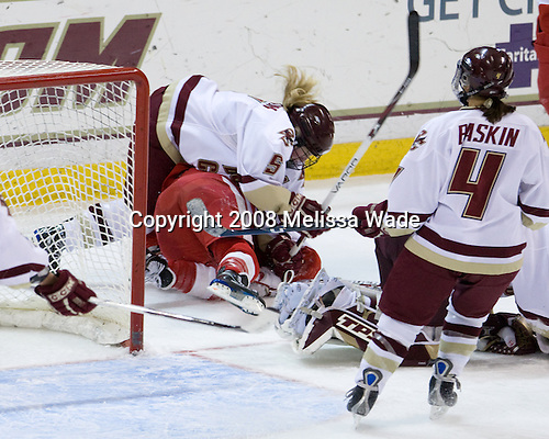 Tracy Johnson (Boston College - 5), Melissa Anderson (BU - 24) - The Boston University Terriers defeated the Boston College Eagles 4-1 on Saturday, November 22, 2008, at Conte Forum in Chestnut Hill, Massachusetts.