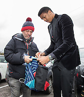 Goalkeeper Jamal Blackman of Wycombe Wanderers signs a shirt ahead of the Sky Bet League 2 match between Wycombe Wanderers and Crawley Town at Adams Park, High Wycombe, England on 25 February 2017. Photo by Andy Rowland / PRiME Media Images.