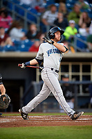 Lake County Captains right fielder Trenton Brooks (4) follows through on a swing during a game against the Quad Cities River Bandits on May 6, 2017 at Modern Woodmen Park in Davenport, Iowa.  Lake County defeated Quad Cities 13-3.  (Mike Janes/Four Seam Images)