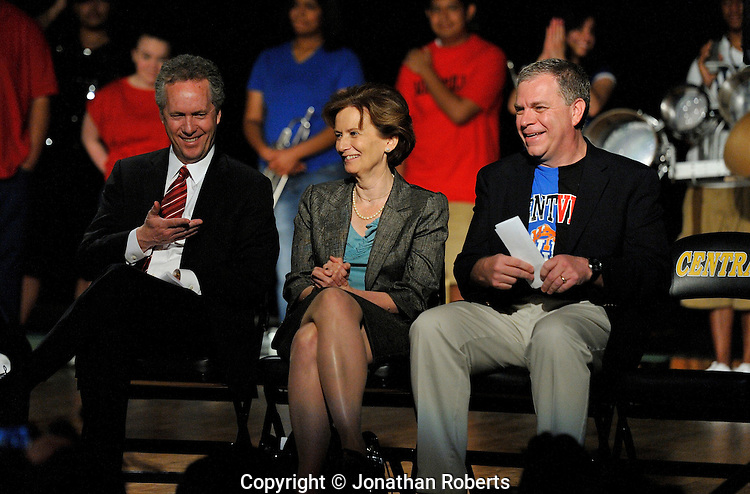 Mayor Greg Fischer, JCPS superintendent Dr. Donna Hargens, and Mike Berry, President and CEO of the Kentucky Derby Festival share a laugh during a press conference for the Mayor's Give A Day week of community service.