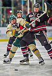17 December 2013:  Northeastern University Huskies Forward Mike McMurtry, a Sophomore from Greely, Ontario, battles University of Vermont Catamount Forward Tom Forgione, a Freshman from South Burlington, VT, in the second period at Gutterson Fieldhouse in Burlington, Vermont. The Huskies shut out the Catamounts 3-0 to end UVM's 5 game winning streak. Mandatory Credit: Ed Wolfstein Photo *** RAW (NEF) Image File Available ***