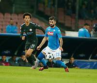 Leroy Sane Elseid Hysaj  during the Champions League Group  soccer match between SSC Napoli - Manchester City   at the Stadio San Paolo in Naples 01 nov 2017