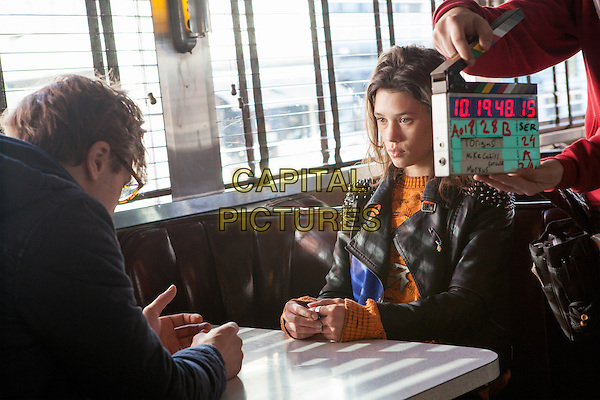 Michael Pitt, Astrid Berges-Frisbey<br /> on the set of I Origins (2014) <br /> *Filmstill - Editorial Use Only*<br /> CAP/NFS<br /> Image supplied by Capital Pictures