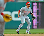 12 April 2012: Cincinnati Reds infielder Zack Cozart in action against the Washington Nationals at Nationals Park in Washington, DC. The Nationals defeated the Reds 3-2 in 10 innings to take the first game of their 4-game series. Mandatory Credit: Ed Wolfstein Photo