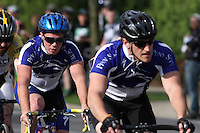 Penn State's Adam Peffer, right, and Mark McShane, left, compete in the Men's D1 Criterium at the Eastern Collegiate Cycling Conference Championships on April 28, 2013. Photo/©2013 Craig Houtz