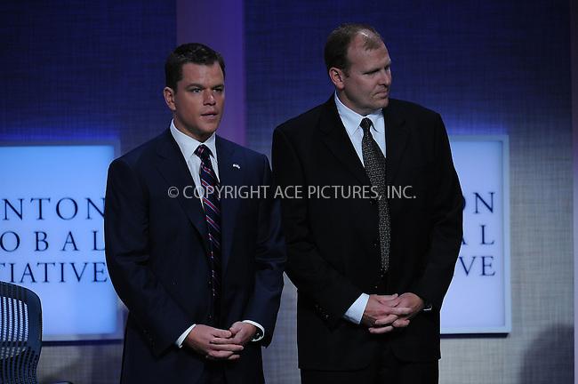 WWW.ACEPIXS.COM . . . . . ....September 22 2009, New York City....Actor Matt Damon at the Clinton Global Initiative at the Sheraton Hote on September 22, 2009 in New York City....Please byline: KRISTIN CALLAHAN - ACEPIXS.COM.. . . . . . ..Ace Pictures, Inc:  ..tel: (212) 243 8787 or (646) 769 0430..e-mail: info@acepixs.com..web: http://www.acepixs.com