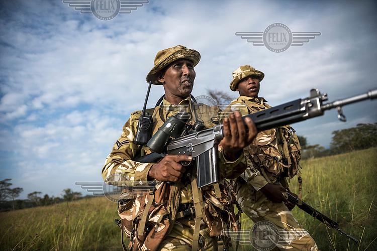 KWS (Kenya Wildlife Service) rangers on patrol in Nakuru National Park where poaching with guns is on the increase.