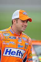 Oct. 3, 2009; Kansas City, KS, USA; NASCAR Nationwide Series driver Eric McClure during qualifying for the Kansas Lottery 300 at Kansas Speedway. Mandatory Credit: Mark J. Rebilas-