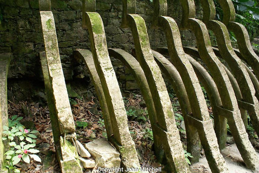 Serpent shaped concrete buttresses at Las Pozas, the surrealistic sculpture garden created by Edward James near Xilitla, Mexico