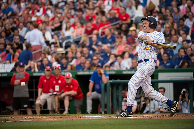 UNITED STATES - JUNE 11: Sen. Chris Murphy, D-Conn., hits during the 54th Annual Roll Call Congressional Baseball Game at Nationals Park in Washington on Thursday, June 11, 2015. The Democrats beat the Republicans 5-2. (Photo By Bill Clark/CQ Roll Call)