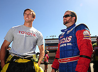 Jul. 18, 2010; Sonoma, CA, USA; NHRA top fuel dragster driver Morgan Lucas (left) with teammate Shawn Langdon during the Fram Autolite Nationals at Infineon Raceway. Mandatory Credit: Mark J. Rebilas-