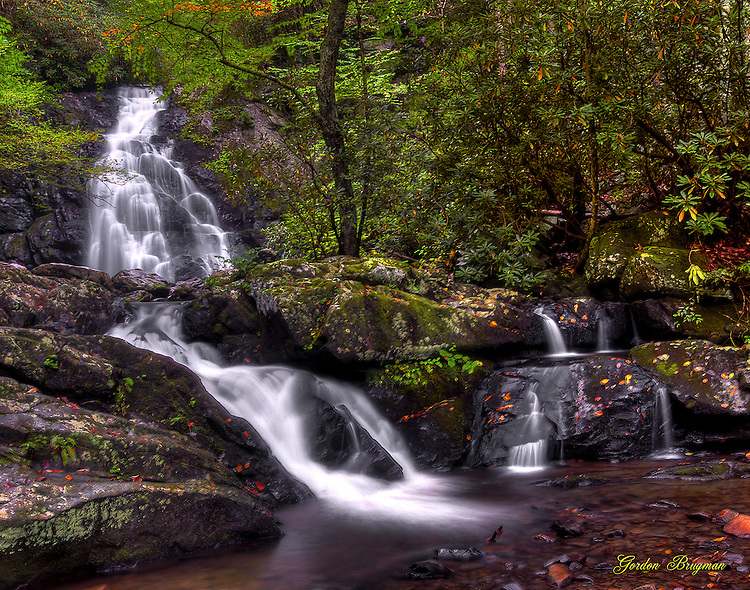 HDR of Spruce Flats Falls in the Great Smoky Mountains national park. Smoky Mountain photos by Gordon and Jan Brugman.