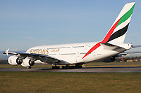 An Emirates Airbus A380-861 Registration A6-EDH going to Dubai International Airport, United Arab Emirates at Manchester Airport on 11.2.19.