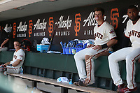 SAN FRANCISCO, CA - APRIL 27:  Christian Arroyo #22 of the San Francisco Giants sits in the dugout and blows a bubble during the game against the Los Angeles Dodgers at AT&T Park on Thursday, April 27, 2017 in San Francisco, California. (Photo by Brad Mangin)