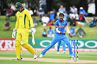 India's Ishan Porel celebrates the wicket of Australia's Jack Edwards during the ICC U-19 Cricket World Cup 2018 Finals between India v Australia, Bay Oval, Tauranga, Saturday 03rd February 2018. Copyright Photo: Raghavan Venugopal / © www.Photosport.nz 2018 © SWpix.com (t/a Photography Hub Ltd)