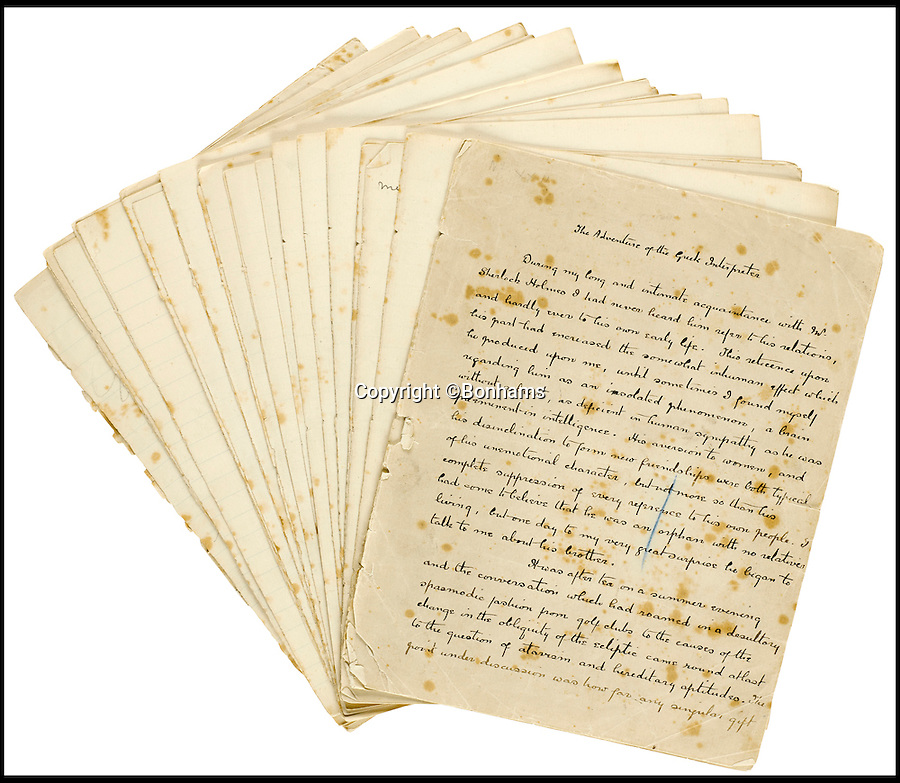 BNPS.co.uk (01202 558833)<br /> Pic: Bonhams/BNPS<br /> <br /> £300,000 estimate for Conan Doyle's Sherlock Holmes short story.<br /> <br /> This sale is sure to be Elementary my dear Watson...<br /> <br /> A signed manuscript of one of Arthur Conan Doyle's early Sherlock Holmes stories is expected to fetch £300,000 at auction.<br /> <br /> The Adventure of the Greek Interpreter was published in 1893, the same year the author tried to kill off the world's most famous detective.<br /> <br /> The rare 34-page handwritten document is signed by the author and has revisions and the publisher's page count marked throughout.<br /> <br /> Conan Doyle wrote 56 short stories and four novels about the super sleuth and he named this as one of his 19 favourites from the canon.<br /> <br /> The manuscript will be sold in New York on April 11.