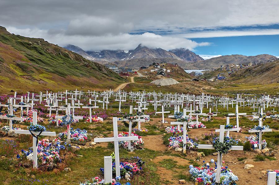 Cemetery outside town of Tasiilaq on Ammassalik Island, East Greenland