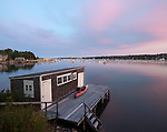 Mount Desert Island, Maine:<br /> Southwest Harbor boat shed and dock at dusk