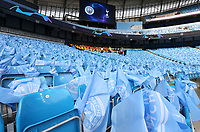 Flags laid out on seats await the fans ahead of kick-off at The Etihad stadium<br /> <br /> Photographer Rich Linley/CameraSport<br /> <br /> UEFA Champions League - Quarter-finals 2nd Leg - Manchester City v Tottenham Hotspur - Wednesday April 17th 2019 - The Etihad - Manchester<br />  <br /> World Copyright © 2018 CameraSport. All rights reserved. 43 Linden Ave. Countesthorpe. Leicester. England. LE8 5PG - Tel: +44 (0) 116 277 4147 - admin@camerasport.com - www.camerasport.com