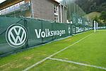 03.07.2019, Parkstadion, Zell am Ziller, AUT, TL Werder Bremen - Tag 00 Feature<br /> <br /> im Bild / picture shows <br /> <br /> Die Banner der Hauptspnosoren sind am Trainingsplatzn<br /> <br /> #hhakebeck<br /> #volkswagenn<br /> #wiesenhof<br /> #wohninvest<br /> #umbro<br /> <br /> Foto © nordphoto / Kokenge