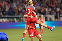 Portland, OR - Saturday May 06, 2017: Allie Long, Amandine Henry celebrate during a regular season National Women's Soccer League (NWSL) match between the Portland Thorns FC and the Chicago Red Stars at Providence Park.