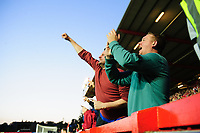 Exeter City fans celebrate during the game<br /> <br /> Photographer Chris Vaughan/CameraSport<br /> <br /> The EFL Sky Bet League Two Play Off Second Leg - Exeter City v Lincoln City - Thursday 17th May 2018 - St James Park - Exeter<br /> <br /> World Copyright &copy; 2018 CameraSport. All rights reserved. 43 Linden Ave. Countesthorpe. Leicester. England. LE8 5PG - Tel: +44 (0) 116 277 4147 - admin@camerasport.com - www.camerasport.com