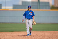 Chicago Cubs second baseman Christian Donahue (12) during a Minor League Spring Training game against the Oakland Athletics at Sloan Park on March 13, 2018 in Mesa, Arizona. (Zachary Lucy/Four Seam Images)