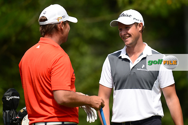 Mikael Lundberg of Sweden chats with Bjorn Akesson of Sweden (R) during Round 3 of the Lyoness Open, Diamond Country Club, Atzenbrugg, Austria. 11/06/2016<br /> Picture: Richard Martin-Roberts / Golffile<br /> <br /> All photos usage must carry mandatory copyright credit (&copy; Golffile | Richard Martin- Roberts)