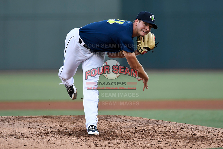Starting pitcher Gary Cornish (23) of the Columbia Fireflies delivers a pitch in a game against the Lexington Legends on Thursday, June 8, 2017, at Spirit Communications Park in Columbia, South Carolina. Columbia won, 8-0, and Cornish got the win. (Tom Priddy/Four Seam Images)