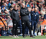 Matt Prestridge and Alan Knill Assistant manager of Sheffield Utd during the championship match at the Bramall Lane Stadium, Sheffield. Picture date 28th April 2018. Picture credit should read: Simon Bellis/Sportimage