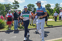Jon Rahm (ESP) and Wesley Bryan (USA) make their way to 3 during Round 1 of the Zurich Classic of New Orl, TPC Louisiana, Avondale, Louisiana, USA. 4/26/2018.<br /> Picture: Golffile | Ken Murray<br /> <br /> <br /> All photo usage must carry mandatory copyright credit (&copy; Golffile | Ken Murray)