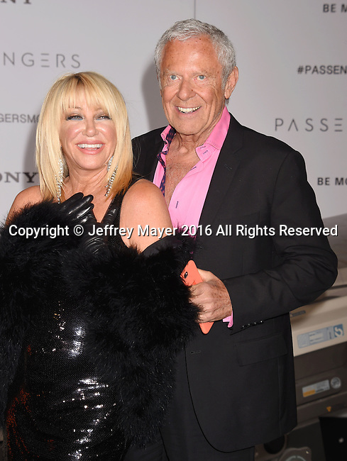 WESTWOOD, CA - DECEMBER 14: Actress Suzanne Somers (L) and husband Mark Hamel arrive at the Premiere Of Columbia Pictures' 'Passengers' at Regency Village Theatre on December 14, 2016 in Westwood, California.