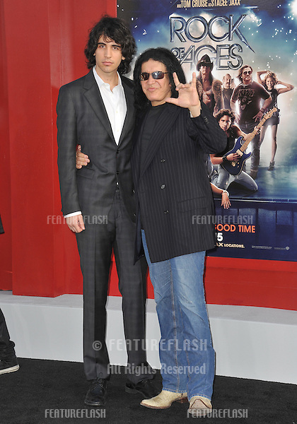 """KISS"" star Gene Simmons & son Nick Simmons at the world premiere of ""Rock of Ages"" at Grauman's Chinese Theatre, Hollywood..June 9, 2012  Los Angeles, CA.Picture: Paul Smith / Featureflash"