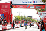Matteo Trentin (ITA) Quick-Step Floors outsprints Jos&eacute; Joaquin Rojas (ESP) Movistar Team to win Stage 10 of the 2017 La Vuelta, running 164.8km from Caravaca A&ntilde;o Jubilar 2017 to ElPozo Alimentaci&oacute;n, Spain. 29th August 2017.<br /> Picture: Unipublic/&copy;photogomezsport | Cyclefile<br /> <br /> <br /> All photos usage must carry mandatory copyright credit (&copy; Cyclefile | Unipublic/&copy;photogomezsport)